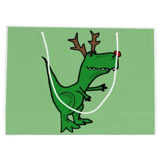 Funny T-Rex Dinosaur Christmas Reindeer Large Gift Bag