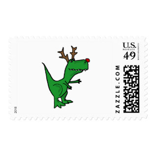 Funny T-rex Dinosaur Christmas Reindeer Postage at Zazzle