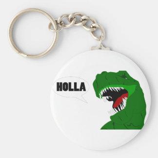 Funny T-rex Dinosaur Holla design Keychain