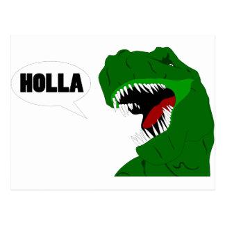 Funny T-rex Dinosaur Holla design Postcard