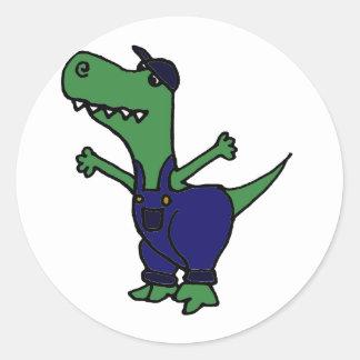 Funny T-rex Dinosaur in Overalls Classic Round Sticker