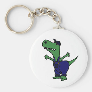 Funny T-rex Dinosaur in Overalls Key Chain