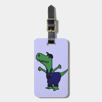 Funny T-rex Dinosaur in Overalls Luggage Tag
