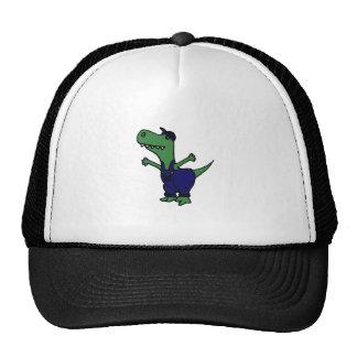 Funny T-rex Dinosaur in Overalls Trucker Hat