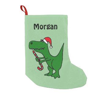 Funny T-Rex Dinosaur in Santa Hat Stocking Small Christmas Stocking