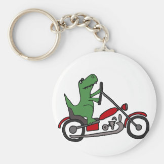 Funny T-rex Dinosaur on Red Motorcycle Basic Round Button Keychain