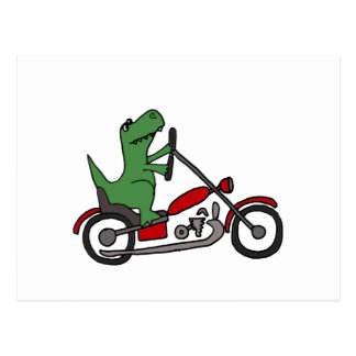 Funny T-rex Dinosaur on Red Motorcycle Postcard