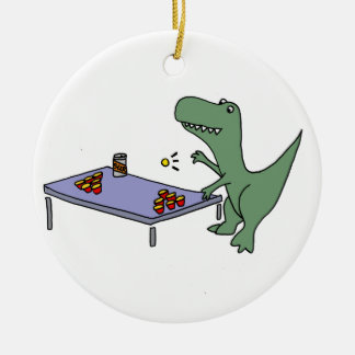Funny T-Rex Dinosaur Playing Beer Pong Ceramic Ornament