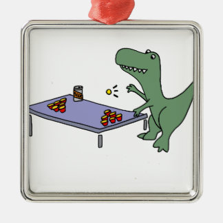 Funny T-rex Dinosaur Playing Beer Pong Metal Ornament