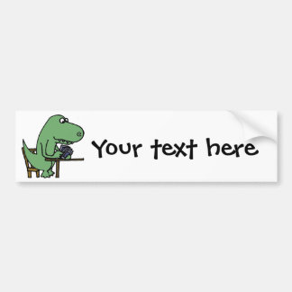 Funny T-Rex Dinosaur Playing Cards Bumper Sticker