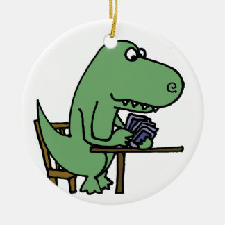 Funny T-Rex Dinosaur Playing Cards Ceramic Ornament