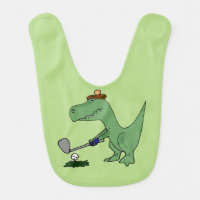 Funny T-Rex Dinosaur Playing Golf Baby Bib