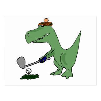 Funny T-Rex Dinosaur Playing Golf Postcard