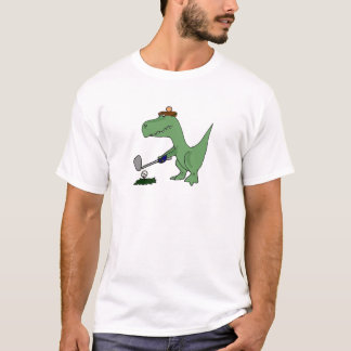 Funny T-Rex Dinosaur Playing Golf T-Shirt