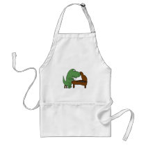 Funny T-Rex Dinosaur Playing Piano Adult Apron