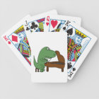Funny T-Rex Dinosaur Playing Piano Bicycle Playing Cards