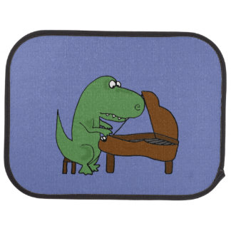 Funny T-Rex Dinosaur Playing Piano Car Floor Mat
