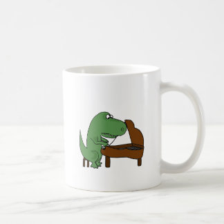 Funny T-Rex Dinosaur Playing Piano Coffee Mug
