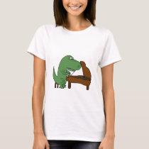 Funny T-Rex Dinosaur Playing Piano T-Shirt