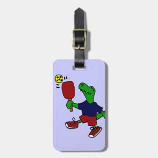 Funny T-Rex Dinosaur Playing Pickleball Travel Bag Tags