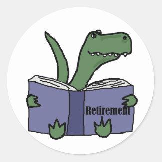 Funny T-rex Dinosaur Reading Retirement Book Classic Round Sticker