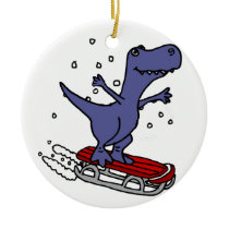 Funny T-rex Dinosaur Sledding Cartoon Ceramic Ornament
