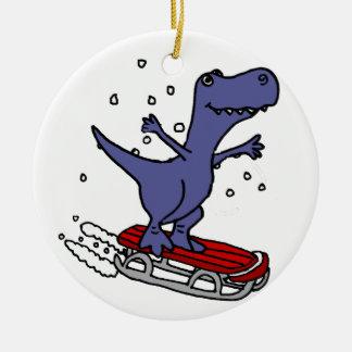 Funny T-rex Dinosaur Sledding Cartoon Ceramic Ornament