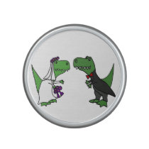Funny T-rex Dinosaurs Bride and Groom Wedding Art Bluetooth Speaker