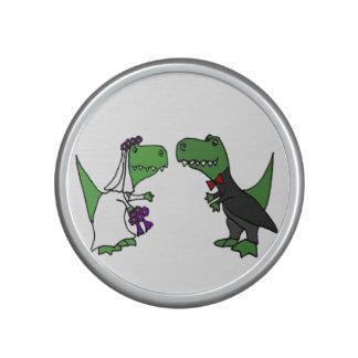 Funny T-rex Dinosaurs Bride and Groom Wedding Art Bluetooth Speaker