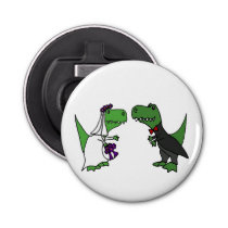Funny T-rex Dinosaurs Bride and Groom Wedding Art Bottle Opener