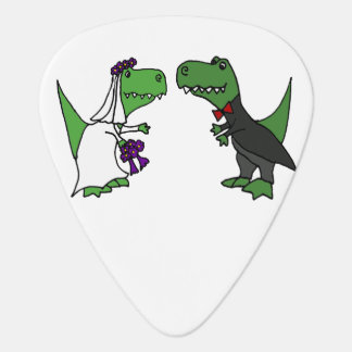 Funny T-rex Dinosaurs Bride and Groom Wedding Art Guitar Pick