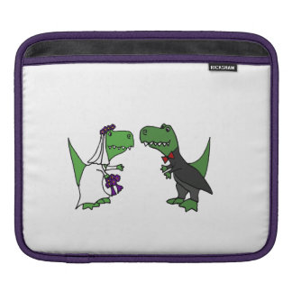 Funny T-rex Dinosaurs Bride and Groom Wedding Art Sleeve For iPads