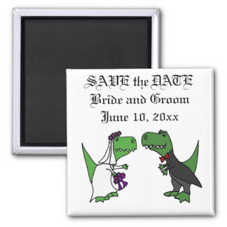 Funny T-rex Dinosaurs Bride and Groom Wedding Art Magnet