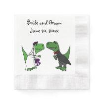 Funny T-rex Dinosaurs Bride and Groom Wedding Art Napkin