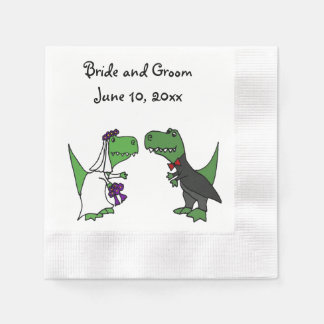 Funny T-rex Dinosaurs Bride and Groom Wedding Art Napkin