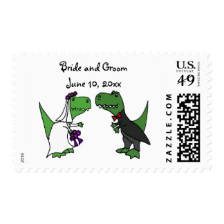 Funny T-rex Dinosaurs Bride and Groom Wedding Art Postage Stamp