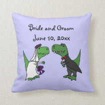 Funny T-rex Dinosaurs Bride and Groom Wedding Art Throw Pillow