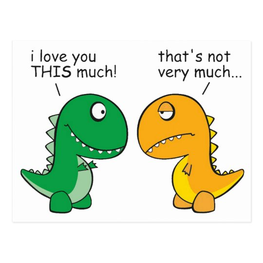 funny t rex little arms cartoon postcard zazzle com