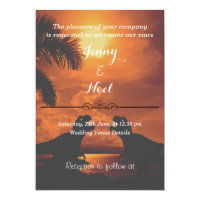 Funny T Rex Sunset Wedding Vows Renewal Invitation