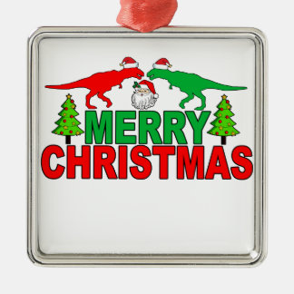 Funny T-Rex Ugly Christmas Sweater Shirts Metal Ornament