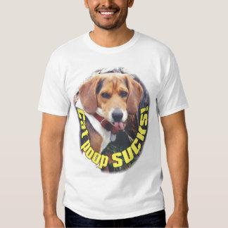 Funny T Shirt Cat Poop SUCKS Beagle Dog Tongue Out