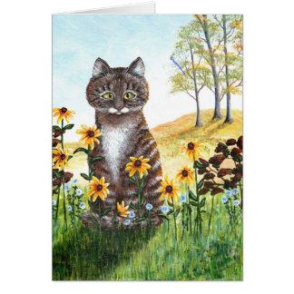 Funny Tabby Cat Black Eyed Susans Flowers Card