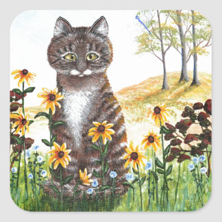Funny Tabby Cat Black Eyed Susans Flowers Square Sticker