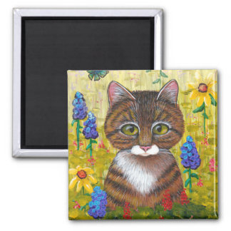 Funny Tabby Cat Flowers Creationarts 2 Inch Square Magnet