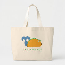 Funny Taco Whale Cartoon Character Large Tote Bag