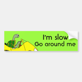Funny Tailgating Bumper Sticker Turtle Driving Slo