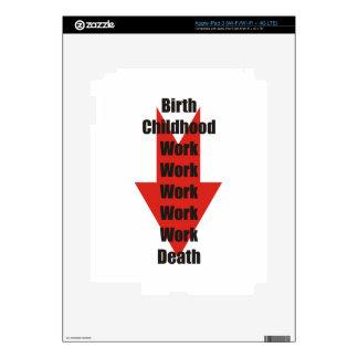 Funny take on birth, work and death iPad 3 skin