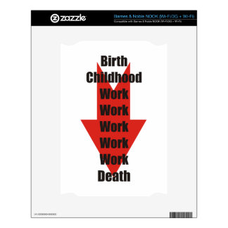 Funny take on birth, work and death NOOK decal