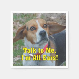 Funny Talk To Me I'm All Ears Beagle Paper Napkin