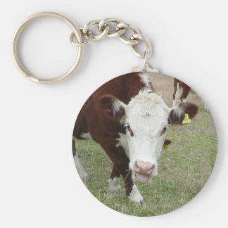 Funny Talking Cow Basic Round Button Keychain